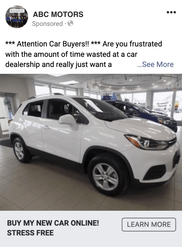 example facebook ads that convert for auto dealers